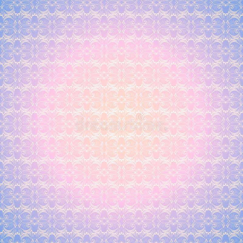 Fondo d'annata rosa e porpora pastello, reale con il modello barrocco classico, rococ? illustrazione di stock