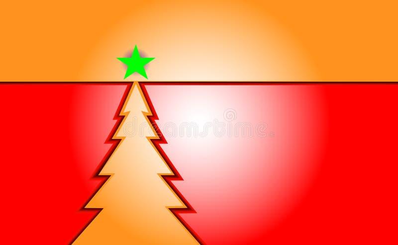 Fondo d'annata rosso di Buon Natale con l'albero di natale di colore della pesca ed ornamenti dai fiocchi di neve leggeri Per i n illustrazione di stock