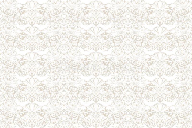 Fondo d'annata senza cuciture bianco nel barocco, rococò, stile di rinascita illustrazione di stock