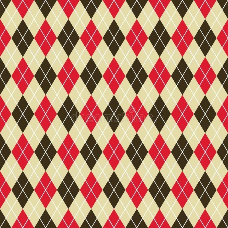 Fondo d'annata senza cuciture del modello del argyle nel rosso e nel nero royalty illustrazione gratis
