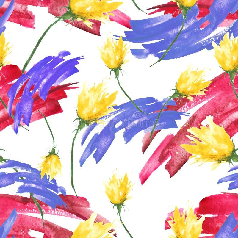 Fondo d'annata senza cuciture dell'acquerello con un modello floreale, un ramo di un fiore rosa, tulipano, foglie, lavanda, fiore illustrazione vettoriale
