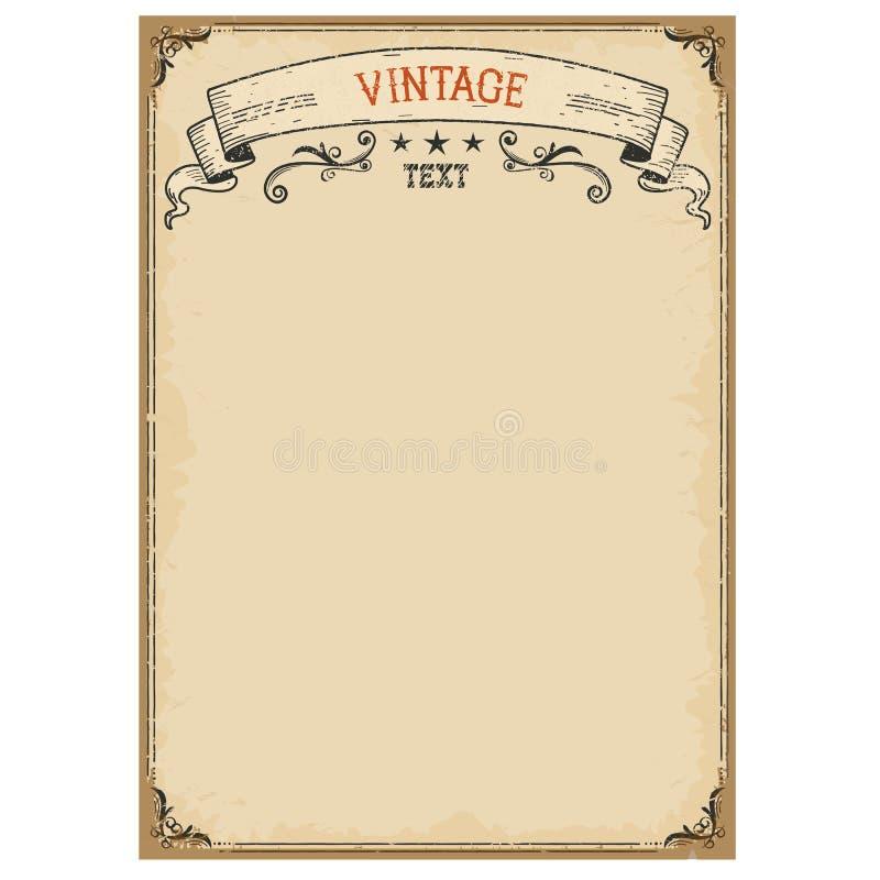 Fondo d'annata su vecchia carta con la struttura decorata ed il rotolo illustrazione vettoriale