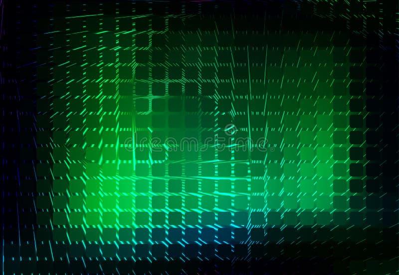 Fondo d'ardore del mosaico arrotondato spirale verde al neon illustrazione di stock
