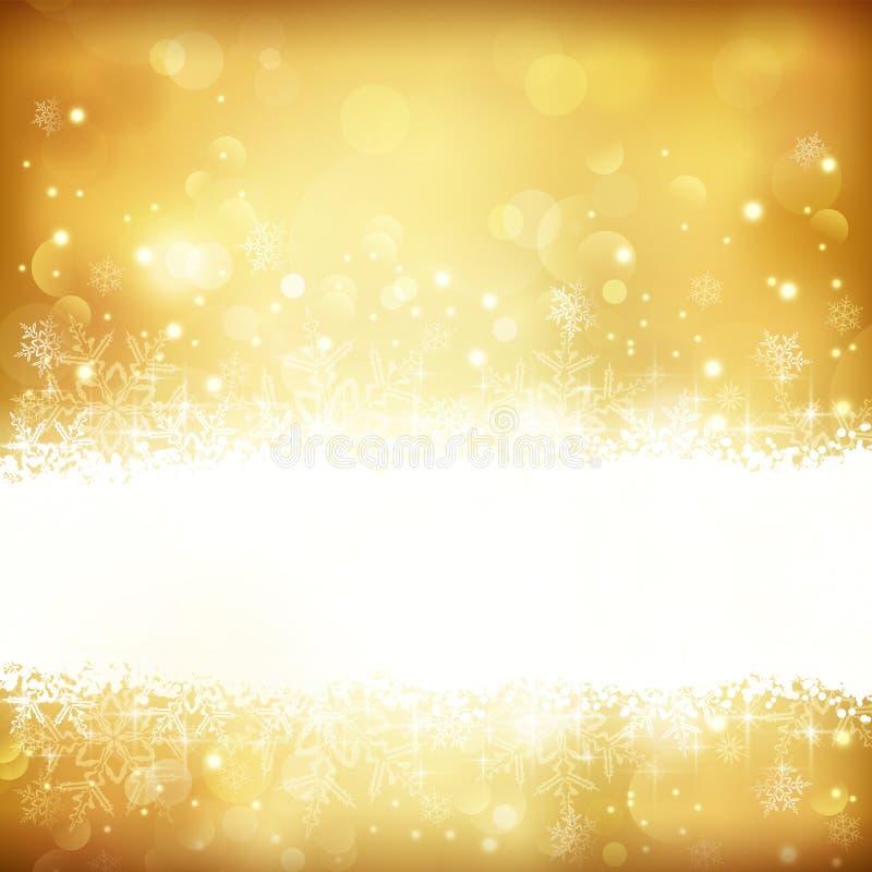 Fondo d'ardore dorato di Natale con le stelle, i fiocchi di neve e le luci illustrazione di stock