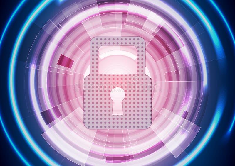 Fondo d'ardore porpora blu astratto di sicurezza di tecnologia royalty illustrazione gratis