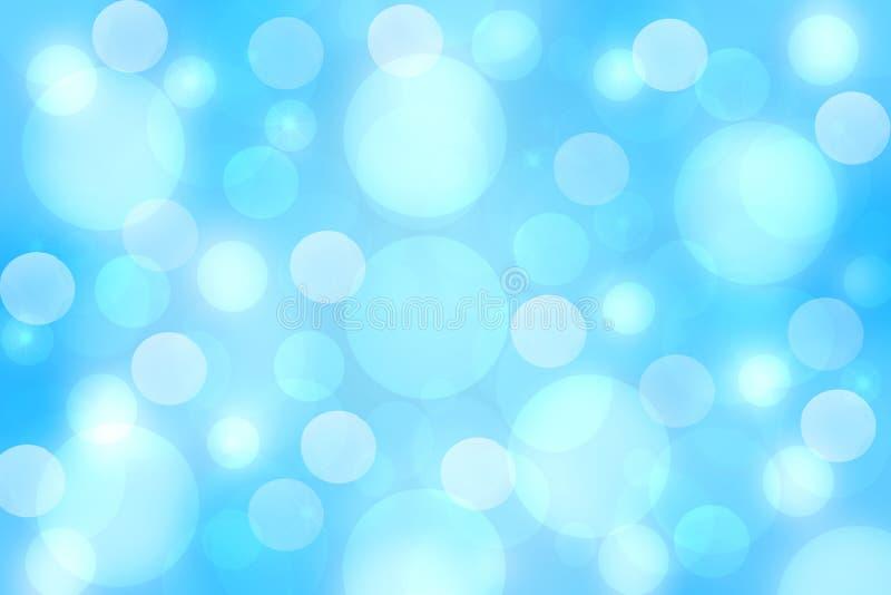 Fondo d'argento blu-chiaro festivo del bokeh dell'estratto con i cerchi variopinti e le stelle Bella struttura illustrazione di stock