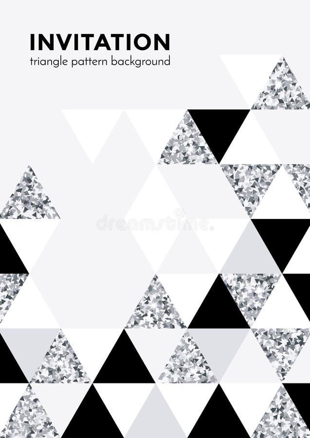 Fondo d'argento del modello del triangolo per il modello di progettazione della carta dell'invito o del manifesto della festa di  royalty illustrazione gratis