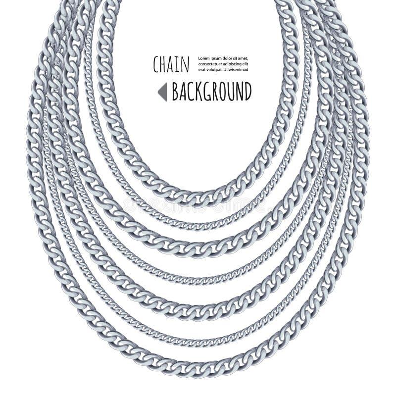 Fondo d'argento dell'estratto della collana delle catene Modello dei gioielli Può essere usato per i vestiti stampano Vettore illustrazione vettoriale