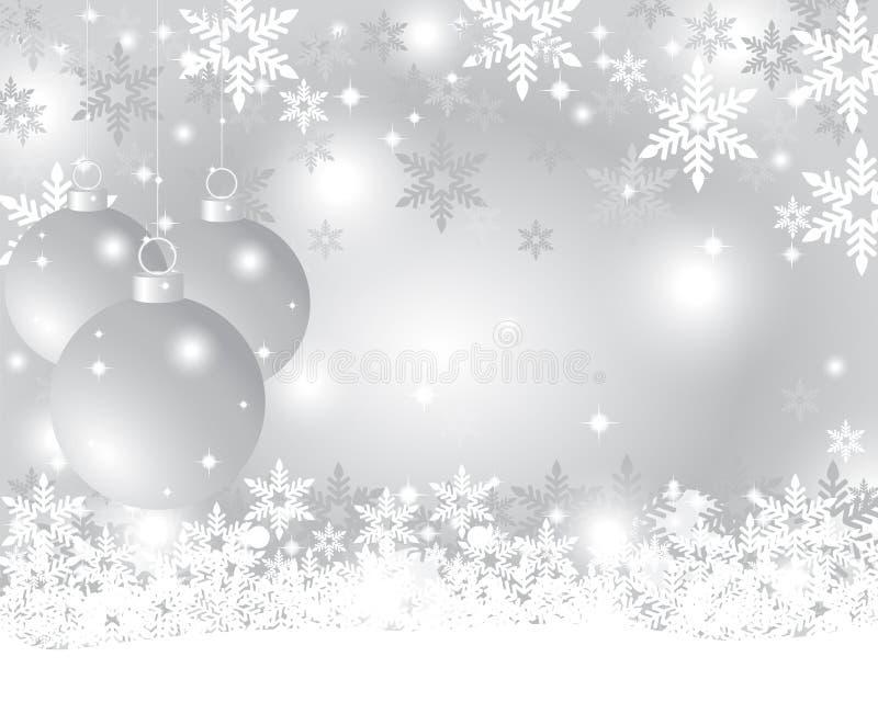 Fondo d'argento di Natale con le palle di Natale illustrazione vettoriale