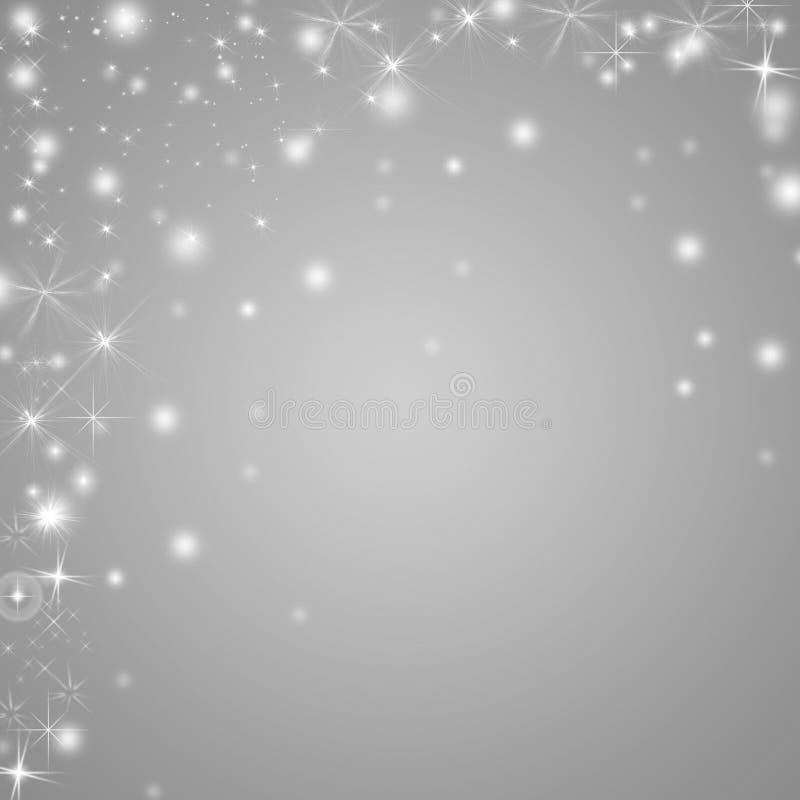Fondo d'argento e bianco di vacanze invernali con le stelle ed i fiocchi di neve illustrazione di stock