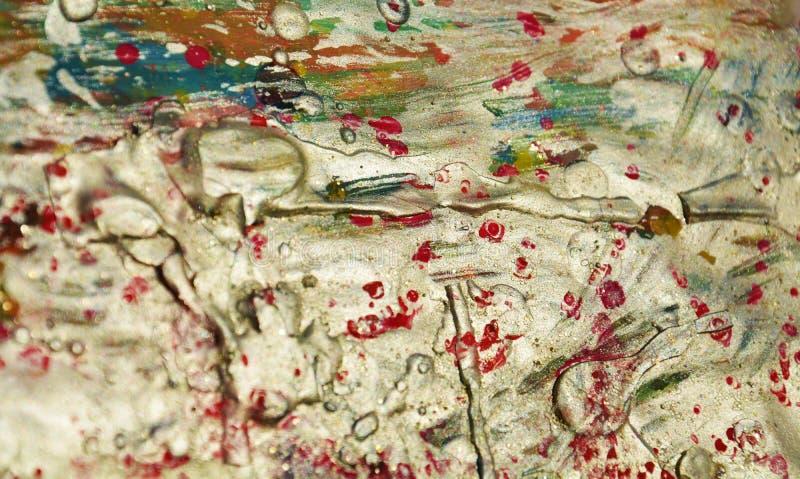 Fondo d'argento scintillante, tonalità fangose rosse bianche fotografia stock libera da diritti