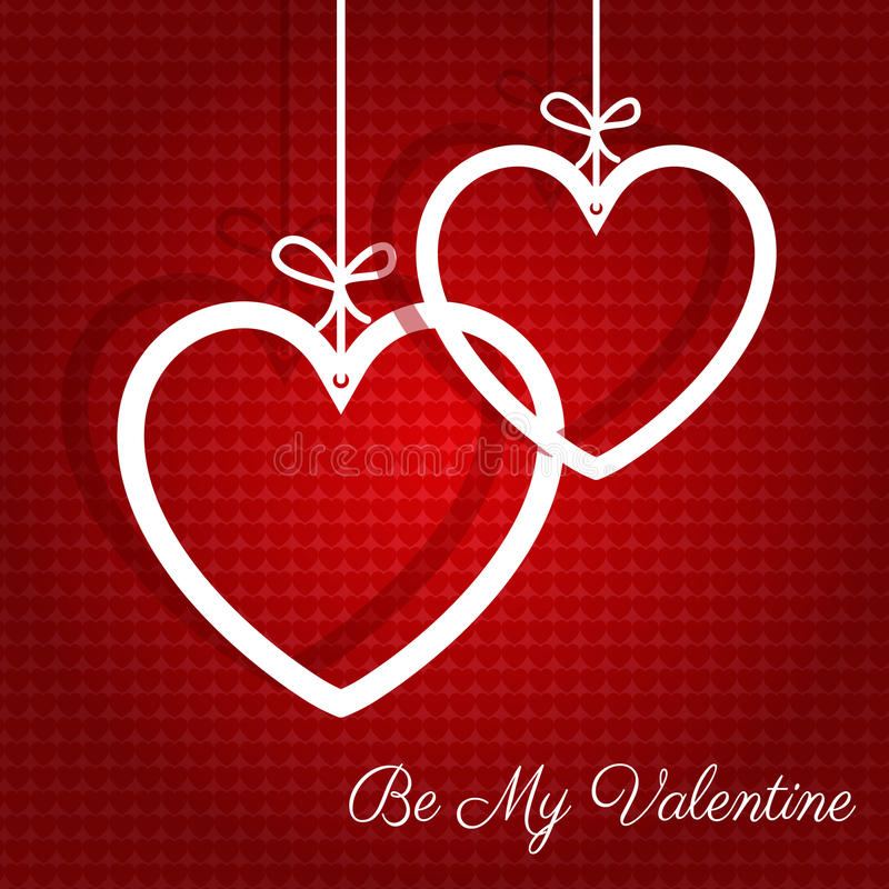 Fondo d'attaccatura di giorno di biglietti di S. Valentino dei cuori illustrazione di stock