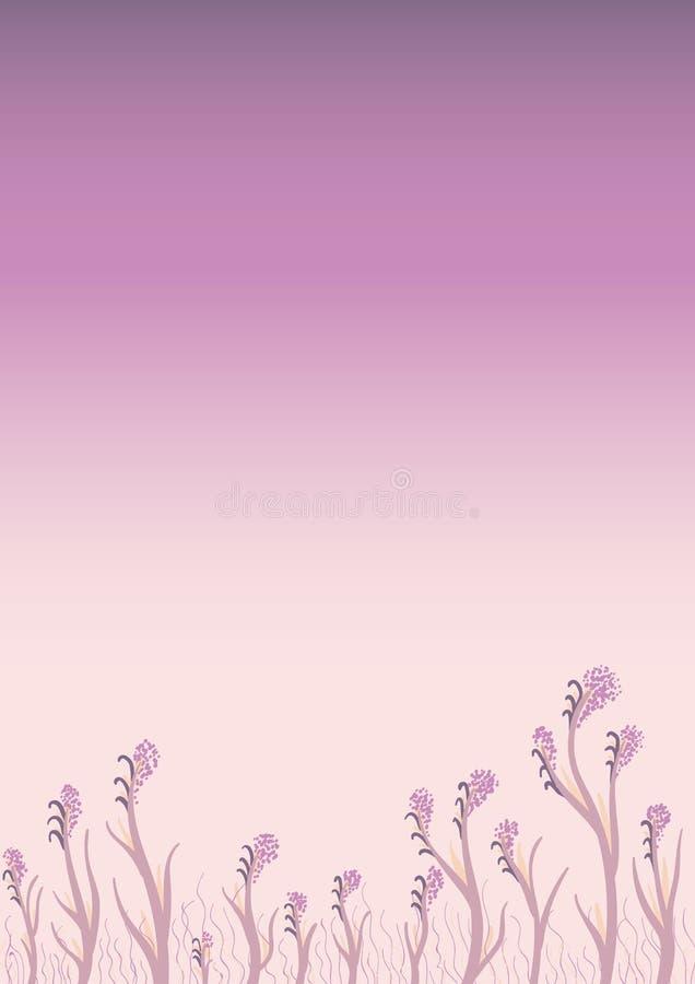 Fondo d'avanguardia moderno viola con floreale e fiori nel colore porpora Illustrazione astratta illustrazione di stock