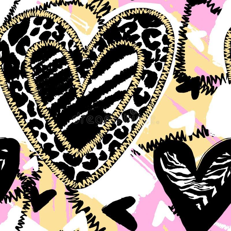 Fondo d'avanguardia senza cuciture del cuore di fascino illustrazione di stock