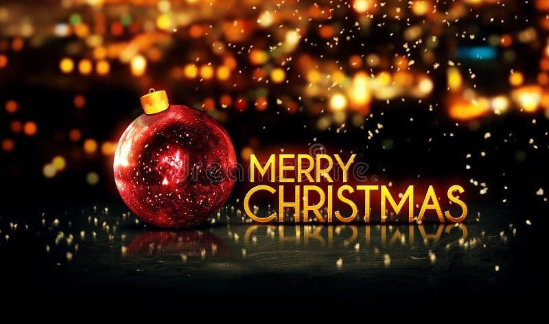 Fondo 3D di Bokeh di Buon Natale rosso dell'oro bello immagine stock