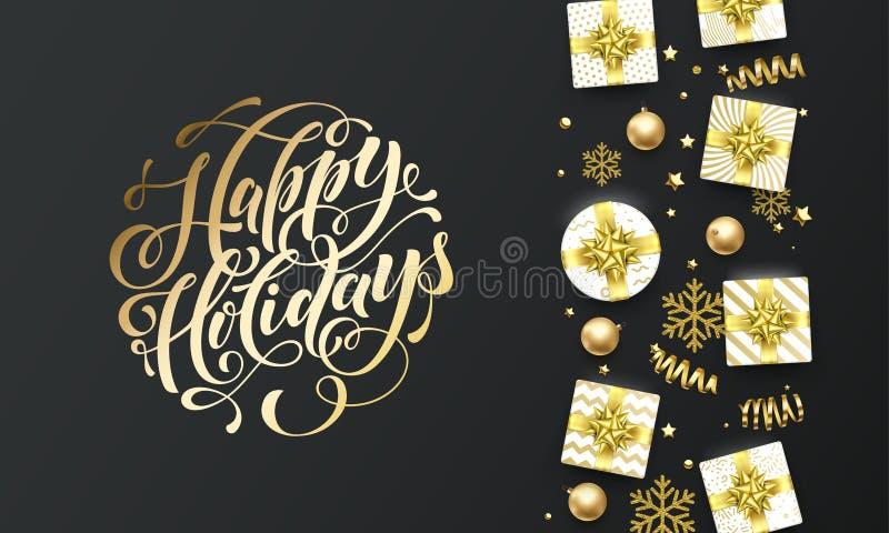 Fondo d'iscrizione dorato del nero di super del testo di feste felici Iscrizione di calligrafia della cartolina d'auguri di Natal illustrazione vettoriale
