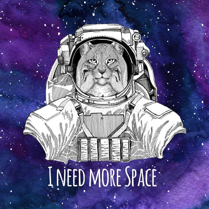 Fondo d'uso animale dello spazio della galassia della tuta spaziale di Lynx Bobcat Trot del gatto di Wild dell'astronauta con le  illustrazione di stock