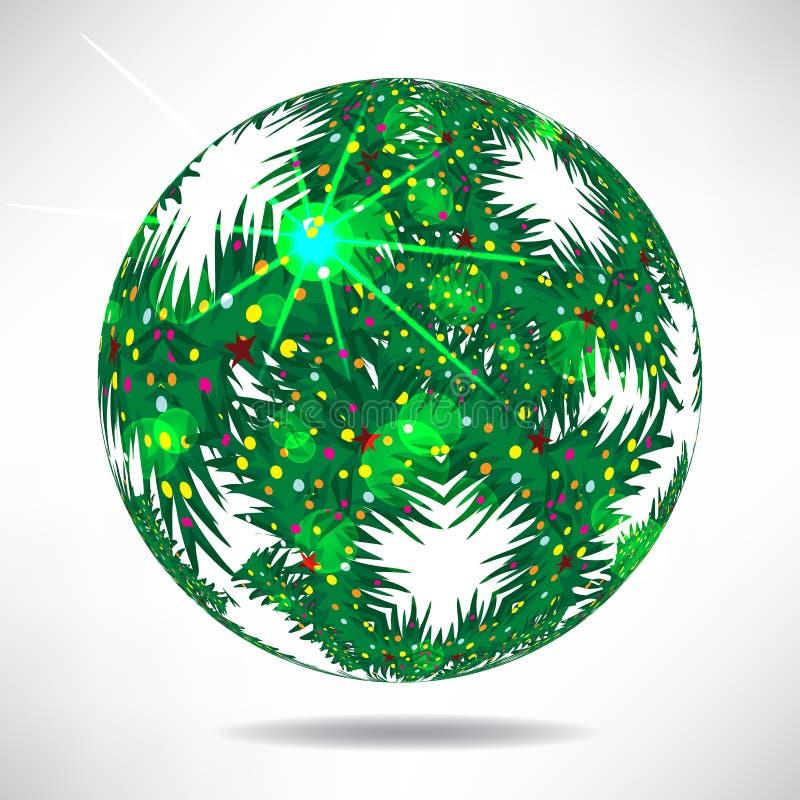 Fondo de árboles de navidad verdes en la forma de bolas stock de ilustración