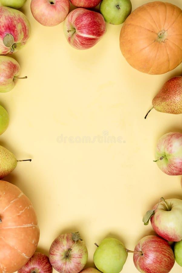 Fondo de Acción de Gracias Las manzanas se pudren en el espacio de fondo amarillo para el cuadro de texto Vertical Halloween Día fotos de archivo libres de regalías