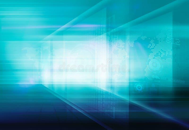 Fondo de alta tecnología abstracto Concep de la tecnología de Digitaces del espacio 3D stock de ilustración
