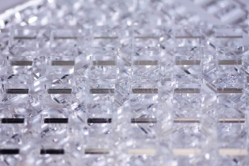 Fondo de alta tecnología abstracto Detalles del plástico o del vidrio transparente Corte del laser del plexiglás imágenes de archivo libres de regalías
