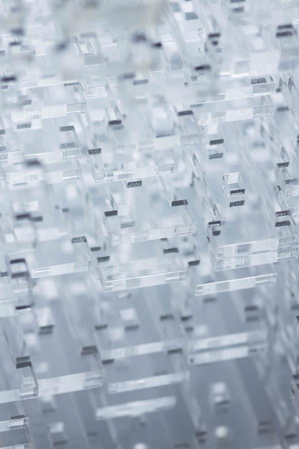 Fondo de alta tecnología abstracto Detalles del plástico o del vidrio transparente Corte del laser del plexiglás fotos de archivo