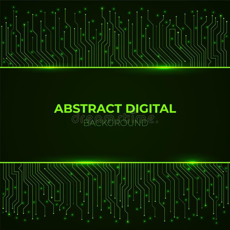 Fondo de alta tecnología de líneas de neón de la placa de circuito del verde del ordenador que brillan intensamente libre illustration
