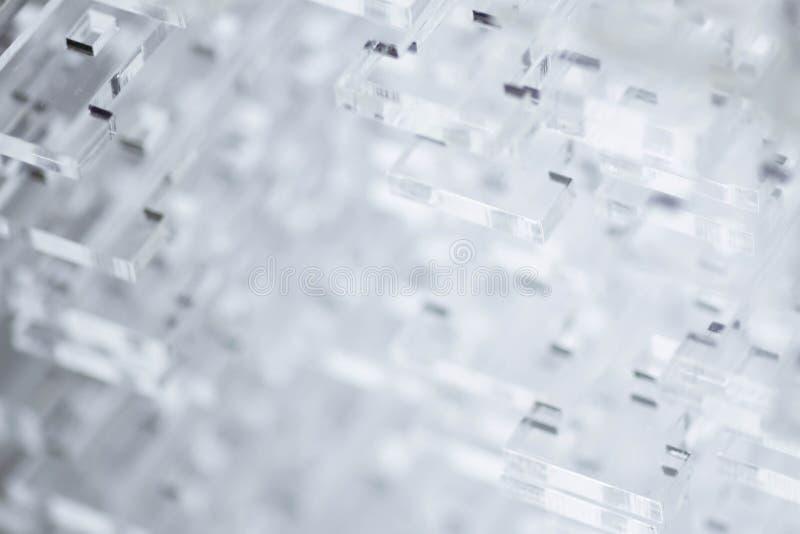 Fondo de alta tecnolog?a abstracto Detalles del pl?stico o del vidrio transparente Corte del laser del plexigl?s imagen de archivo libre de regalías