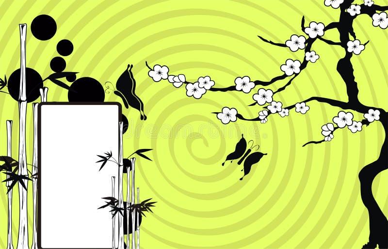 Fondo de bambú japonés asiático 5 del espacio de la copia del tatuaje stock de ilustración