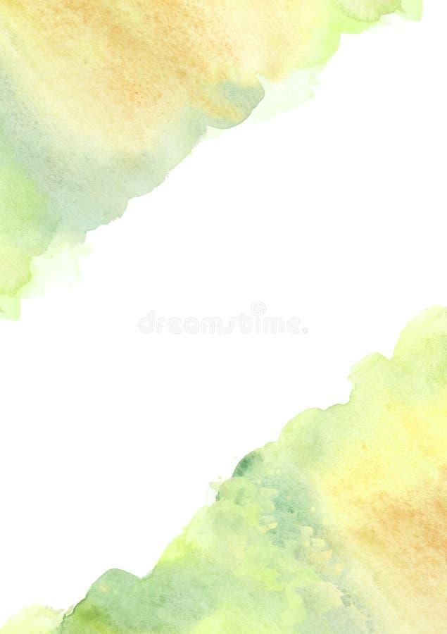 Fondo de banderín verde vertical de color de agua con salpicaduras de color de agua y marco de manchas ilustración del vector