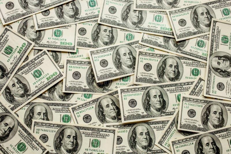 Fondo de 100 billetes de dólar Concepto de dinero imagenes de archivo
