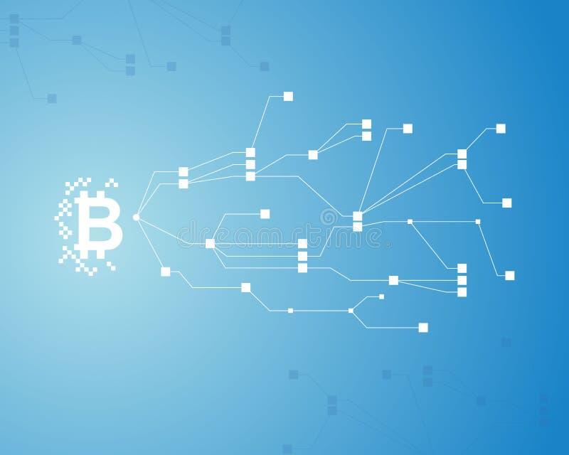 Fondo de Bitcoin en fondo azul stock de ilustración