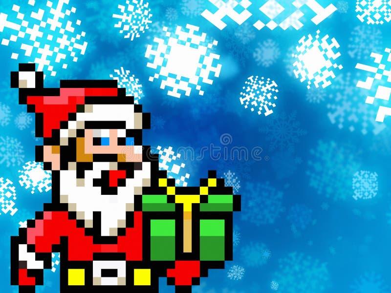 Fondo de 8 bits del estilo del juego retro del pixel de Papá Noel stock de ilustración