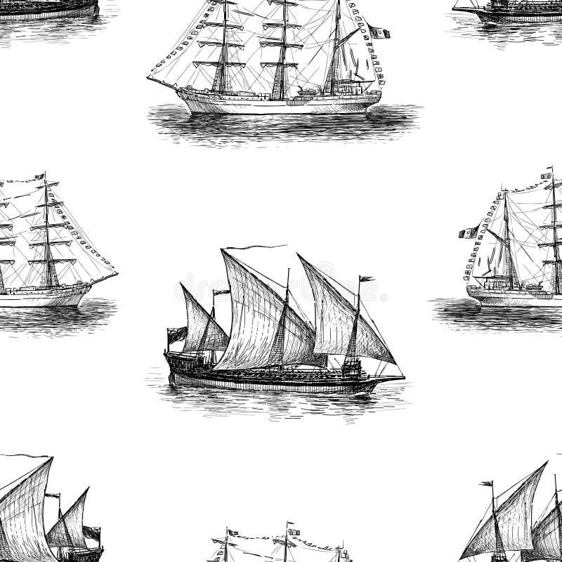 Fondo de bosquejos de los veleros stock de ilustración