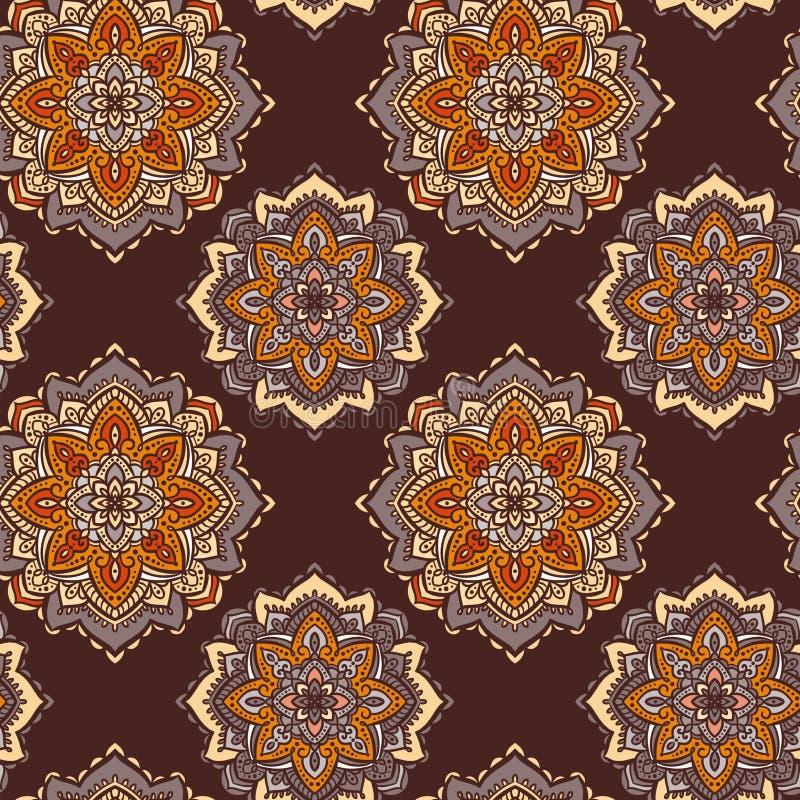 Fondo de Brown, anaranjado y beige con los ornamentos caleidoscópicos stock de ilustración