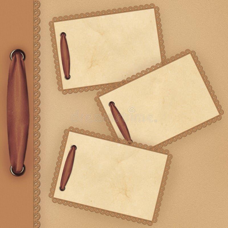 Fondo de Brown con el cordón y tarjeta para el foto stock de ilustración