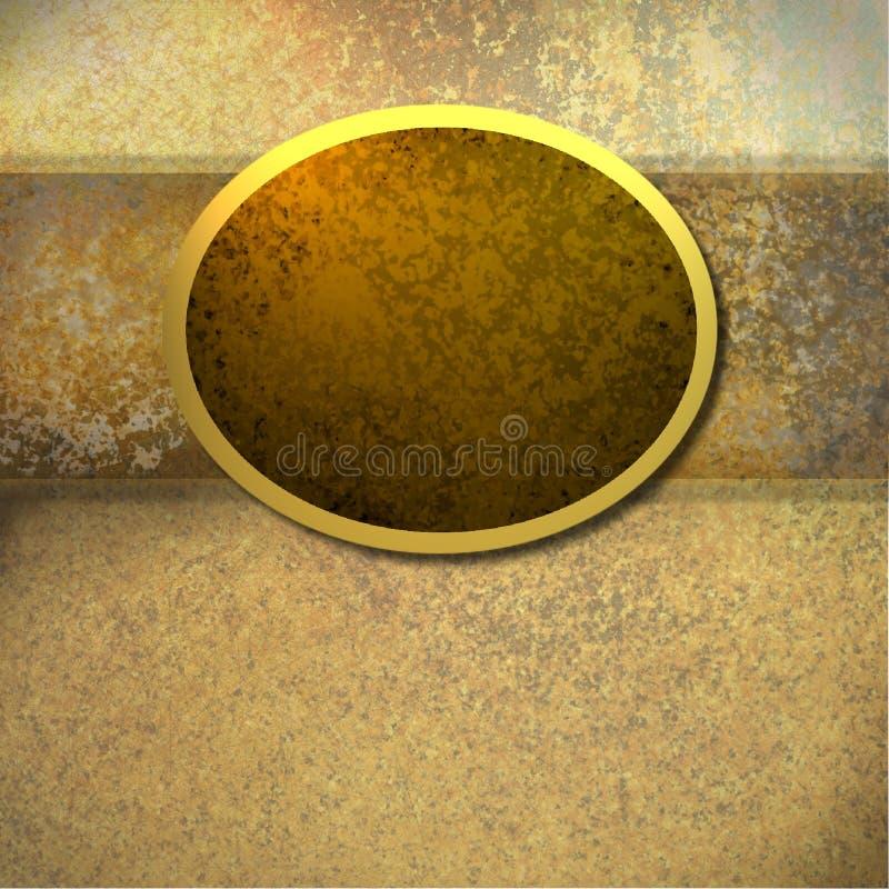 Fondo de Brown con el marco del oro stock de ilustración