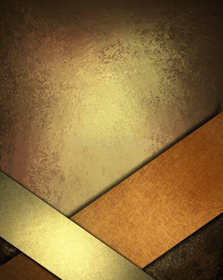 Fondo de Brown con la cinta del oro y del cobre stock de ilustración