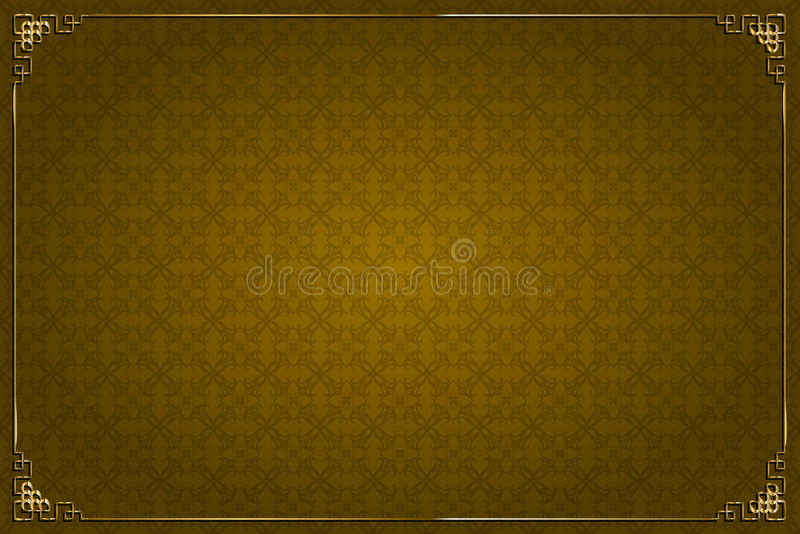 Fondo de Brown y decoración chinos del oro stock de ilustración