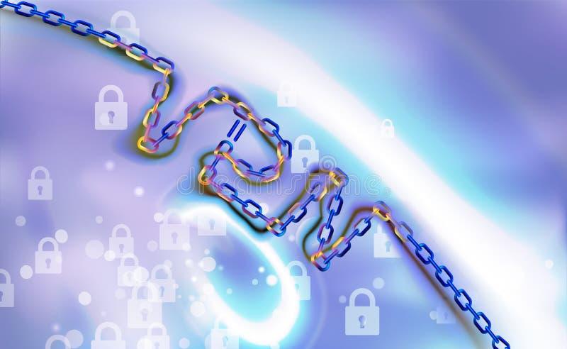 Fondo de cadena de la conexión del VPN Asegure el concepto de la conexión de red de soldado virtual Descripción de la conectivida ilustración del vector