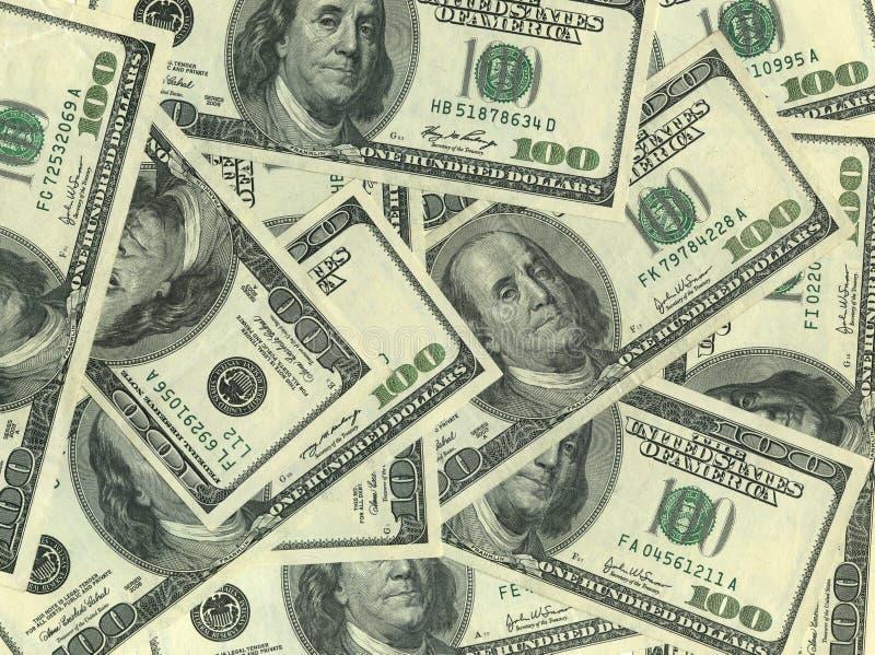Fondo De Cientos Cuentas De Dólar Fotos de archivo libres de regalías