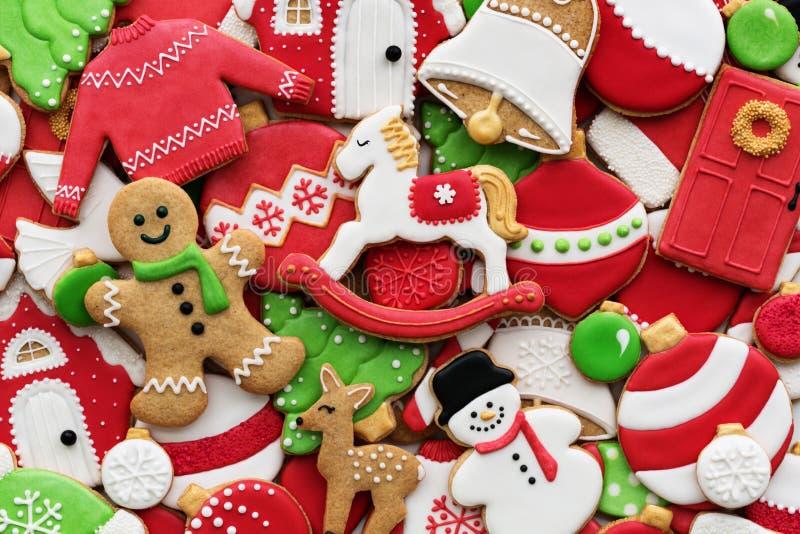 Fondo de cookie de Navidad decorada fotografía de archivo