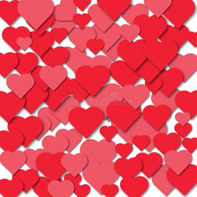 Fondo de corazones, el efecto del papel cortado ilustración del vector
