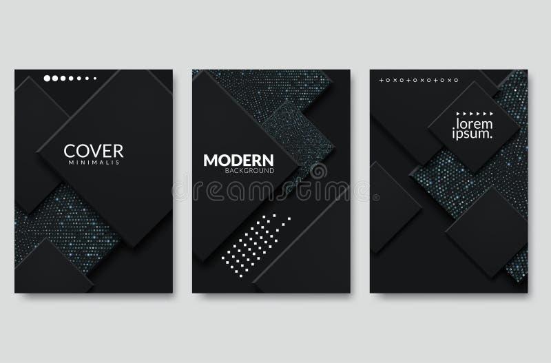 Fondo de corte de papel negro Decoración de papel en capas realistas y texturada con un patrón de medio tono dorado stock de ilustración