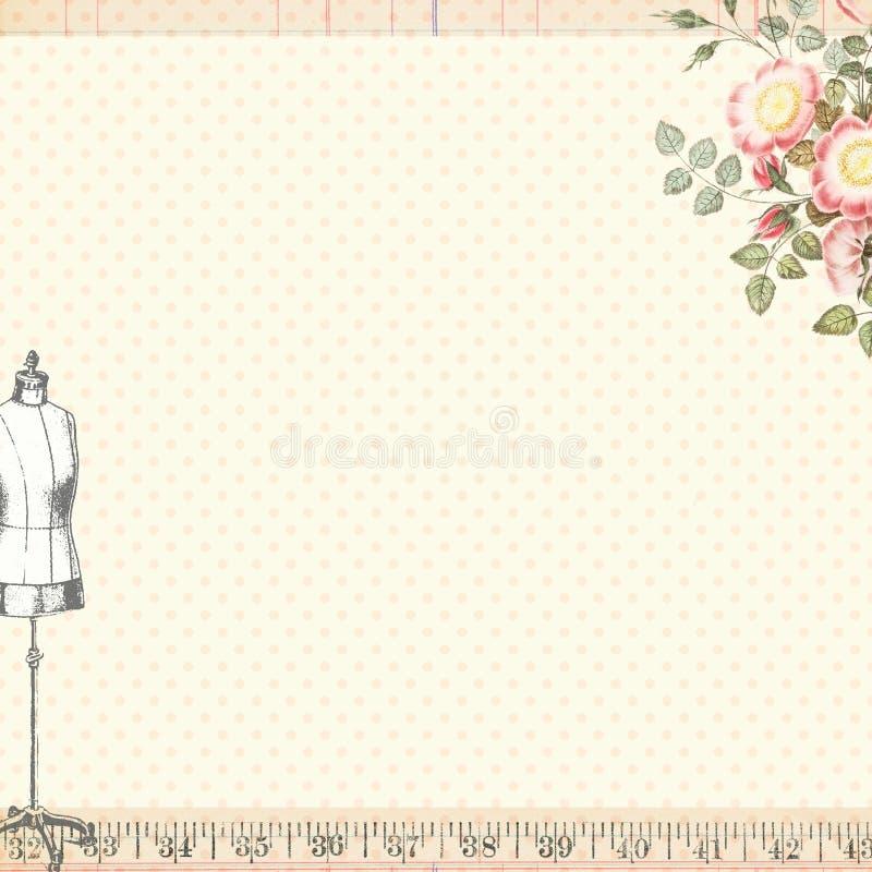 Fondo de costura elegante lamentable del arte con la forma de la carrocería libre illustration