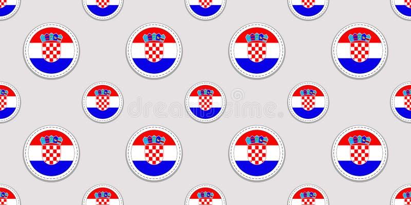 Fondo de Croacia Modelo inconsútil de la bandera croata Iconos redondos del vector Símbolos geométricos del círculo Textura para  ilustración del vector