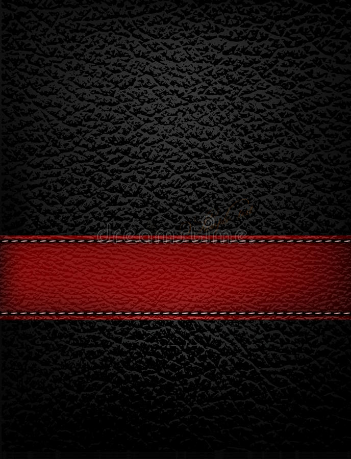 Fondo de cuero negro con la tira de cuero roja. ilustración del vector