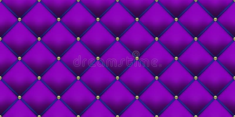 Fondo de cuero púrpura real de la tapicería azul con el modelo de los botones del oro Fondo de lujo del terciopelo del vintage de stock de ilustración