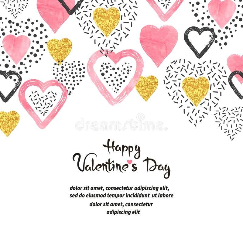 Fondo de día de San Valentín con los corazones rosados y lugar para el texto ilustración del vector