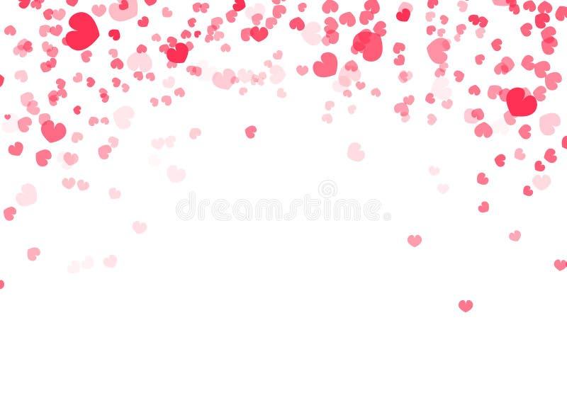 Fondo de día de San Valentín, decoración que cae del confeti del corazón del ejemplo del extracto del vector del amor libre illustration
